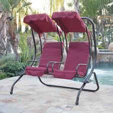 Lawn Swing Belleze 2 Person Outdoor Patio Swing Set Armrest Cup Holder Steel