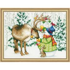 dimensions ornamental reindeer counted cross stitch