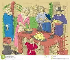 pilgrims thanksgiving dinner royalty free stock images image