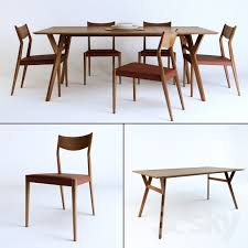 Mid Century Dining Table And Chairs 3d Models Table Chair Tate Leather Dining Chair Mid Century
