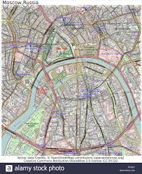 Moscow Map Moscow Russia Center Area City Map Aerial View Stock Vector Art