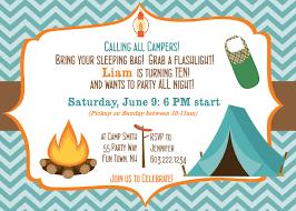 Invitation Birthday Party Card 18 Stunning Camping Birthday Party Invitations Theruntime Com