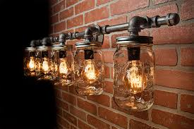 mason jar light fixture light rustic light vanity light wall light wall sconce steampunk light free