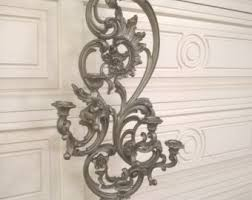 Silver Wall Sconce Candle Holder Baroque Candle Wall Sconce Etsy