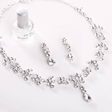 simple diamond sets 2015 new water drop necklaces diamond wedding earrings sliver