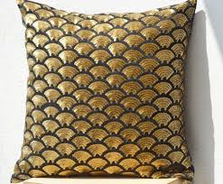 gold sequin pillows with embroidered waves sashiko pillow covers
