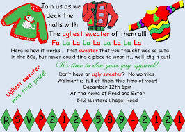Invitation Card For Christmas Ugly Christmas Sweater Party Invitations Dhavalthakur Com