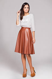 knee length skirt brown leather flared knee length skirt