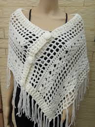 Handmade Poncho - ivory handmade crochet poncho shawl wrap button in scarves