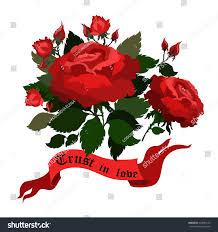 vector roses ribbon bannertattoo art illustration stock vector