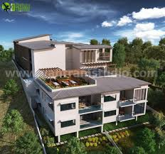 up hill exterior house design ideas by architectural rendering