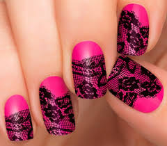 fashion fusion nail strips by incoco pink neon lace nail design