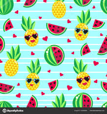 pineapple wrapping paper seamless background with bright fruits pineapple and watermelons