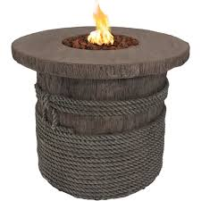 Gas Firepit Table Sunnydaze Outdoor 29 Inch Rope And Barrel Design Propane Gas