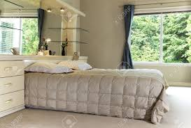 Large Mirror Size Master Bedroom With King Size Bed Large Mirror And Open Curtains