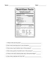 nutrition label worksheet worksheet resources for november