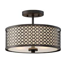 Semi Flush Mount 251 First Nicollet Rubbed Bronze Two Light Drum Semi Flush Mount