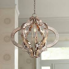 ornament aged silver 23 1 4 wide 6 light chandelier t5031