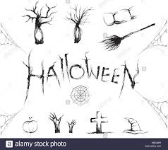 halloween text symbols halloween icon and symbol set with sketch brush vector