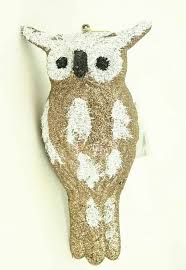 large gold white owl ornament