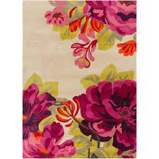 Modern Floral Rug Artistic Weavers Cleyera Beige 8 Ft X 11 Ft Indoor Area Rug