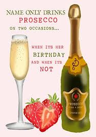 prosecco birthday card drinks on two occasions funky pigeon