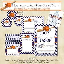 basketball chevron sports baby shower invitation mega pack navy