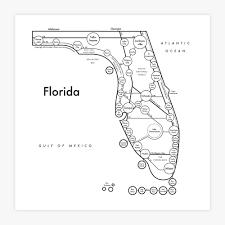 Alabama Florida Map by Florida Map Print U2014 Archie U0027s Press