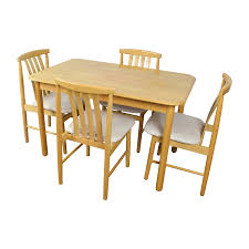 Wooden Dining Table Furniture 71 Off Light Wood Dining Table With Four Chairs Tables