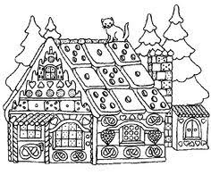 gingerbread house colouring free download