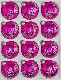 12 pcs glass balls set in high gloss pink silver