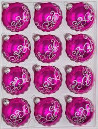 12 pcs glass balls set in high gloss pink silver