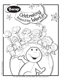 image barney celebrating around the world colouring page gif