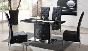 serene black marble finish dining table and 4 chairs 21366