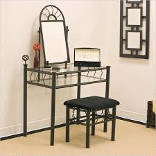 Bedroom Vanity Plans Coaster Wrought Iron Frosted Black Makeup Vanity Table Set With