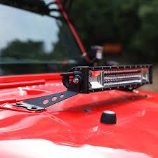jeep jk hood led light bar auxmart 22 led light bar hood mounting brackets fit jeep wrangler