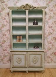 Provincial Bookcase Aged Blush Pink French Provincial Bookcase Miniature Dollhouse