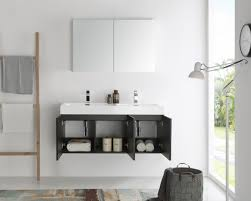 48 Inch Double Bathroom Vanity by Fresca Mezzo 48 Inch Black Wall Mounted Double Sink Modern