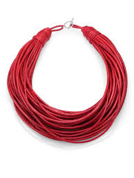 red leather necklace images Lyst brunello cucinelli patent leather cord multistrand necklace jpeg