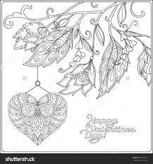coloring pages happy valentine day card with decorative love