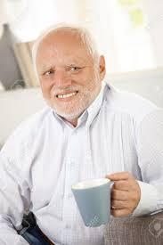 Old Guy Meme - portrait of smiling old man having coffee looking happy stock