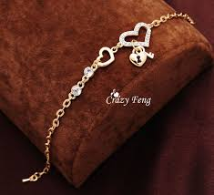 crystal chain link bracelet images Heart shape charm bracelets gold plated jewelry for women fashion jpg