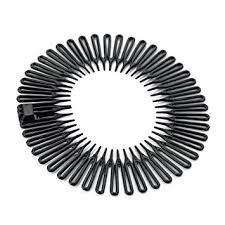 black plastic flexi comb zig zag sports headband hair