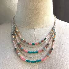 necklace stone beads images Strands necklace pastel necklace stone necklace crystal necklace jpg