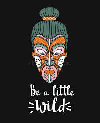 maori mask vector print design stylish card boho lettering