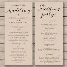 wedding program template printable wedding program diy