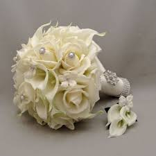 silk flower bouquets silk flower bridal bouquet stephanotis real touch roses calla