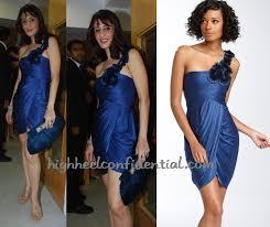 farah khan ali vogue event blue bcbg dress high heel confidential