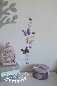 deco chambre gris et mauve stickers papillons 3d mauve violet parme gris rose poudré