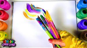 learn colors for kids and color multi paint brush and blend